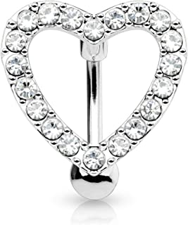 Forbidden Body Jewelry Pave CZ Crystal Heart Surgical Steel Reverse Hinged Top Down Belly Ring