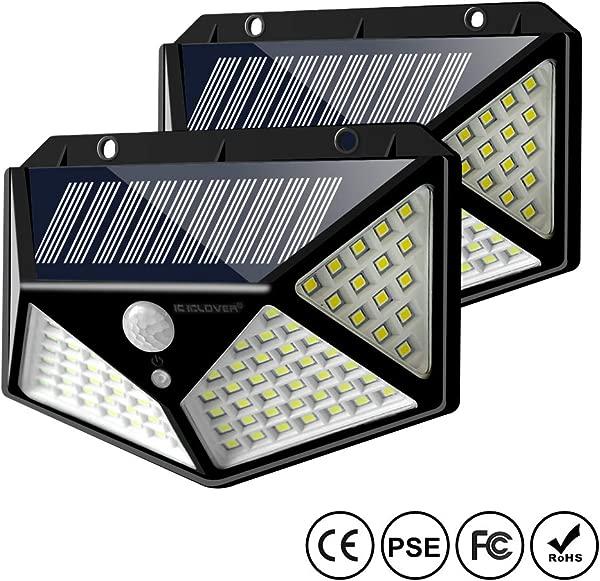 太阳能运动感应灯户外 IC ICLOVER 全新升级 100 LED 防水安全墙小夜灯带 270 毫米广角月可选模式的花园露台庭院围栏甲板车库门廊月包