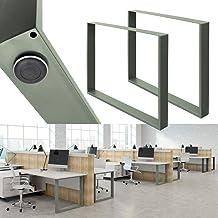 ECD Germany 2x tafellopers 90x72 cm gepoedercoat staal steengrijs vintage industriële look tafelpoten tafelpoten meubelpot...