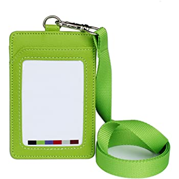 Nero 6pz Porta Badge Verticale in Ecopelle per Ufficio e Scuola per Carte ID Carte di Lavoro Affari con Cordino 10,5cm*7,3cm