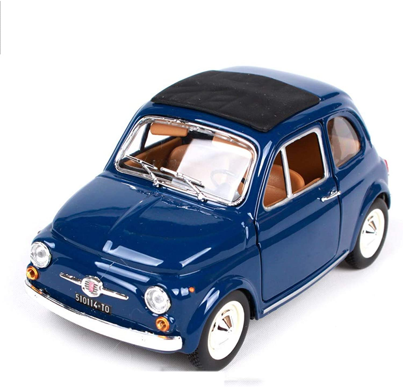 PENGJIEModel 1 24 FIAT 500F Retro Oldtimer Modell Dekoration Geschenk (Farbe   FIAT 500F blueee)