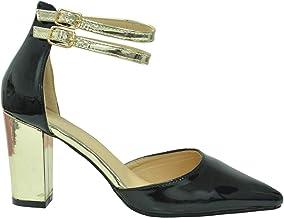 Amazon.co.uk: Black and Gold Heels