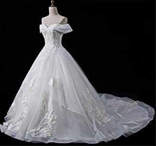 Women's V-Neck Dresses with Lace Evening Dresses Long Wedding Gowns Elegant Ball Gown Wedding Dress Champagne White XL