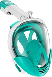 SMACO Full Face Snorkel Mask with UV Protection Anti-Fog Anti-Leak Snorkeling Mask with Detachable Camera Mount 180° Panoramic View Swimming Mask for Adults and Youth