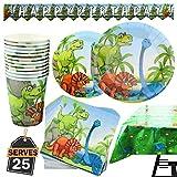 Kompanion Set de 102 Piezas de Fiesta Diseño de Dinosaurio, Incluye Pancarta, Platos,Vasos, Cubiertos, Servilletas,Mantel, 25 Personas