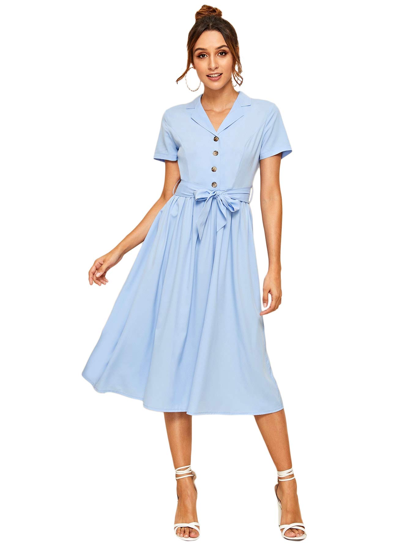Available at Amazon: Verdusa Women's Short Sleeve Button Front Belted Solid Midi Dress