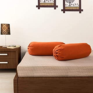 SOUMYA Plain Cotton Bolster Cover (Rust) -2 Pieces