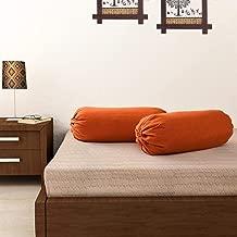 SOUMYA Plain Cotton Bolster Cover (Rust) -2 Pieces