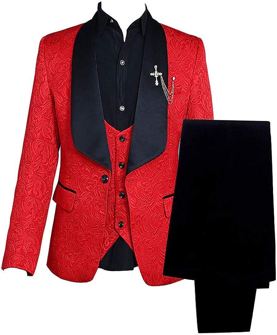Super-cheap Popular popular Men Paisley Jacquard Floral Slim Fit Tuxedos Suits Wedding Groom