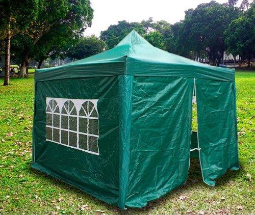New MTN Gearsmith Heavy Duty Ez Canopy Pop up Tent Canopy Shade 10 X 10' Gazebo with 4 Walls DarkGreen