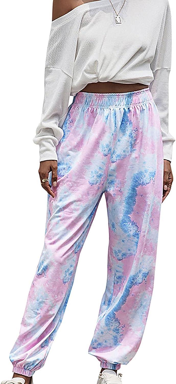 Misaky Women's Credence Active Elastic Waist 5 ☆ very popular Sweatpants Tie-Dye Jog Baggy