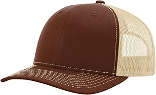 Richardson Trucker Snapback Cap,Brown/Khaki,Adjustable