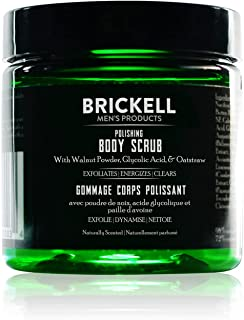 Brickell Men's Polishing Body Scrub for Men, Natural and Organic Body Exfoliator to Remove Dirt, Prevent Blemishes, and Br...