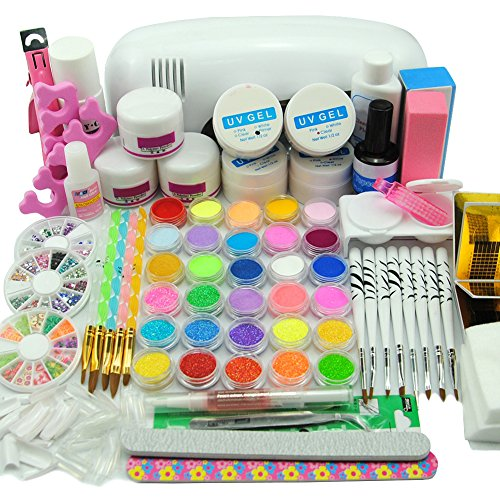 Coscelia 9 UV Lámpara de Secado Kit UV Lámpara UV Gel Brush Lápices Kit para Uñas...