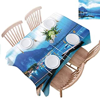 PINGYEHOME Waterproof Table Cloth, Italian Harbor Village Small Tablecloth for Kitchen Dinning Indoor Outdoor Table Decoration, W52 x L102 Inch