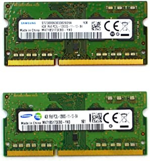 Samsung 8GB kit (2 x 4GB), 204-pin SODIMM, DDR3 PC3L-12800, 1600MHz ram memory module (M471B5173EB0-YK0 x 2)