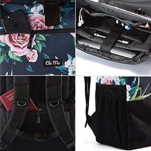 Ela Mo's Rucksack Damen   Schön und Durchdacht   für Uni Reisen Freizeit Job   mit Laptopfach & Anti Diebstahl Tasche   Blumen - 4