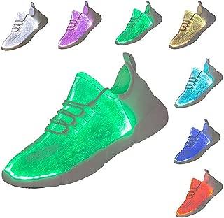 Yopaseeur Women Men Kids Fiber Optic LED Shoes Light Up Sneakers with USB Charging Flashing Festivals Party Dance Luminous Shoes
