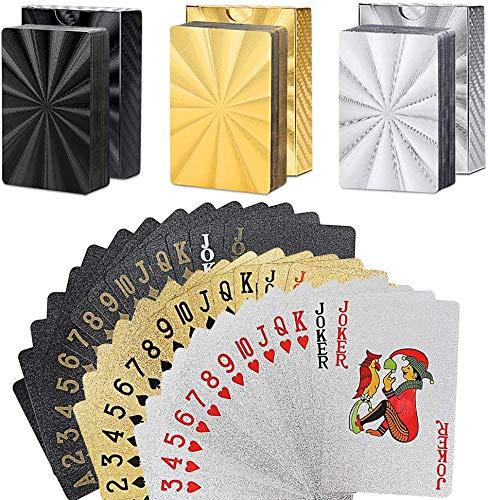 YAASO Spielkarten Standard wasserdichte Plastikfolie Poker Karten Set Gold Silber Schwarz, Zaubertricks Werkzeug für Männer Frauen Geschenk Party Game Show, Packung mit 3 Decks