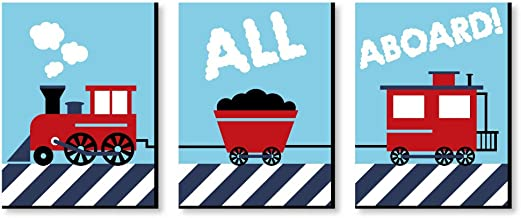 Big Dot of Happiness Railroad Crossing - Steam Train Baby Boy Nursery Wall Art and Kids Room Decorations - Christmas Gift Ideas - 7.5 x 10 inches - Set of 3 Prints