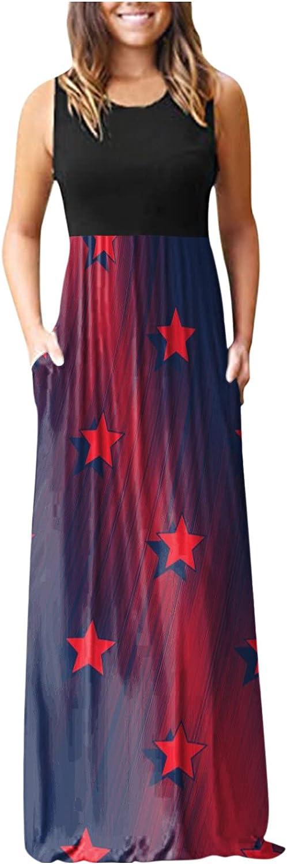 Women's Casual Sleeveless Maxi Dress Teen Girls Star Print Long Beach Dress with Pockets
