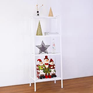 Yescom 4 Tier Metal Ladder Shelf Bookcase Leaning Storage Rack Corner Display Shelving Plant Flower Stand White