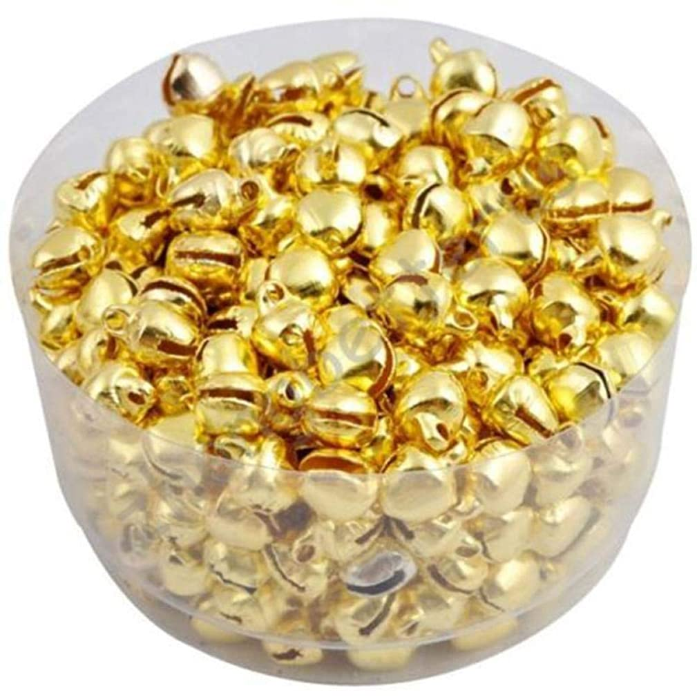 Yongrow 200 PCS Small Christmas Bells Pendants Charms Mother's Day Holiday Decoration Jingle Iron Colorful Loose Beads (Gold)