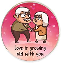 Yaya Cafe Valentine Gifts for Girlfriend Boyfriend Husband Wife Fridge Magnet Love is Growing Old with You Printed Pink - Round