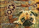 Pixie's Picks Pug Art Print Steampunk Steampug A3 Giclée Print Dog Pug Digital Art A3 (Matte Art Paper or Gloss) (Gloss Paper)