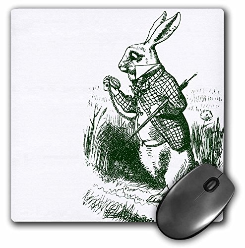 3dRose LLC 8 x 8 x 0.25 Inches Mouse Pad, White Rabbit Late from Alice in Wonderland (mp_179093_1)