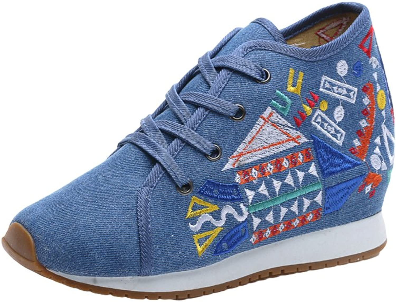 AvaCostume Womens Geometric Pattern Embroidery Lace-up Fashion Sneakers