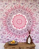 Guru-Shop Boho-Style Wandbehang, Indische Tagesdecke Mandala Druck - Weiß/pink/violett, Rosa, Baumwolle, 220x210 cm, Bettüberwurf, Sofa Überwurf