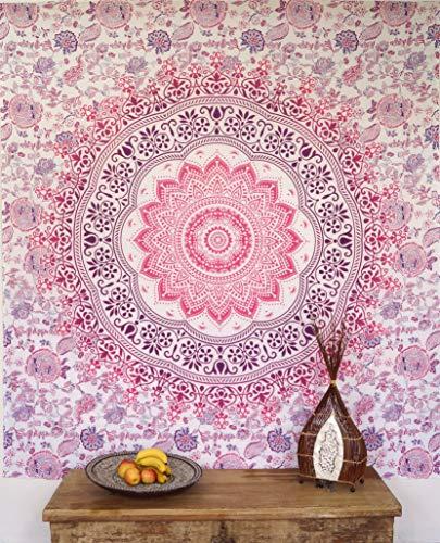 Guru-Shop Indisches Mandala Tuch, Wandtuch, Tagesdecke Mandala Druck - Weiß/pink/violett, Rosa, Baumwolle, 220x210 cm, Bettüberwurf, Sofa Überwurf
