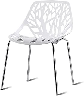 Modern Design Chairs Bird Nest Set of 4 Dining Chair Birch Sapling Accent Armless Side Chairs Stackable White