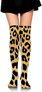 Calcetines de tubo estampados de leopardo coloridos de las mujeres Medias altas sobre el muslo de la rodilla Medias altas para niñas 65 cm / 25,6 pulgadas