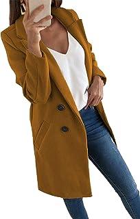 Abtel Women Casual Blazer Suit Long Sleeve Jacket Oversized Double-Breasted Coat Formal Business Office OL Outwear Winter