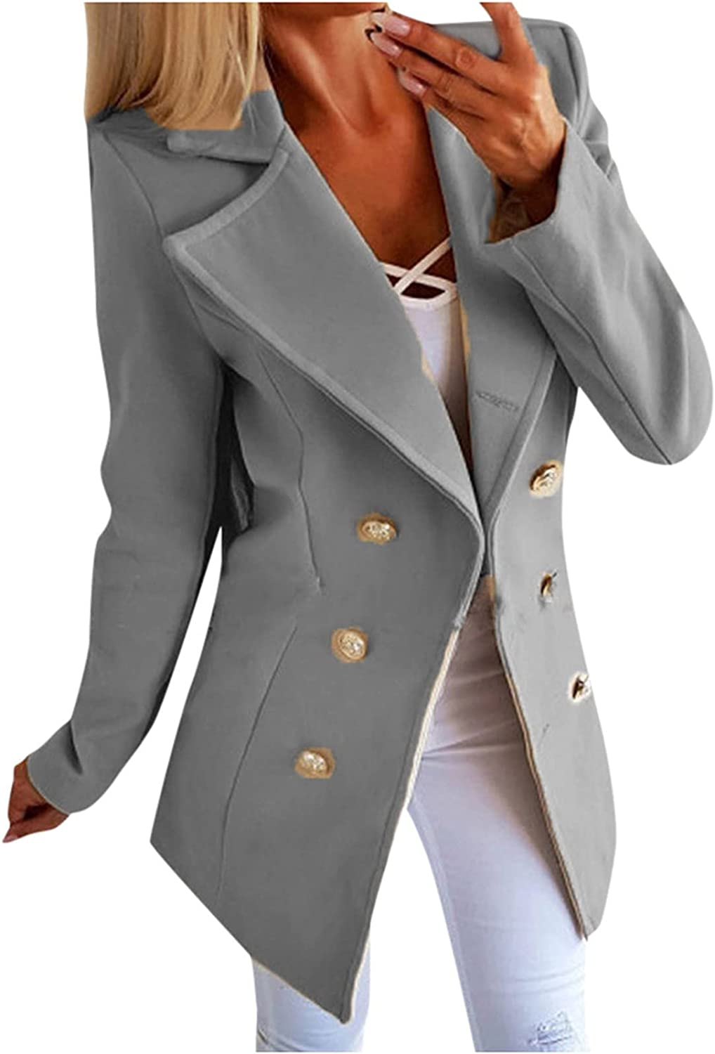 VonVonCo Fashion Business Casual Tops for Women Pure Open Front Cardigan Formal Long Sleeve Casual Tweed Jacket