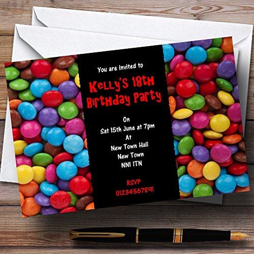10 x Uitnodigingen Smarties Snoepjes Rood Gepersonaliseerde Kinderpartij Nodigt elke bewoording uit