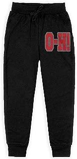Ohio State O-H Boy's Sweatpants Open-Bottom Teen Athletic Pants Black