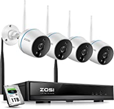 ZOSI 2MP FHD Wireless Security Camera System Outdoor Indoor, 8CH NVR with 1TB HDD and (4) Weatherproof IP Camera 1080p, Plug and Play, Auto Match, Two-Way Audio, Pir Motion Detection, Remote Access