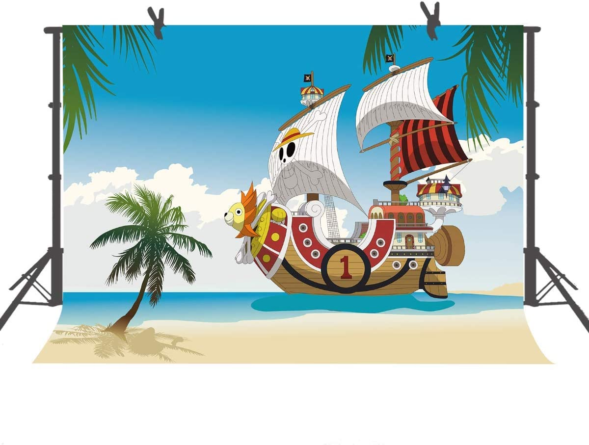 15x10ft Cartoon Pirate Ship Background Pirate King Photography Backdrop Photo Video Props LHFU348
