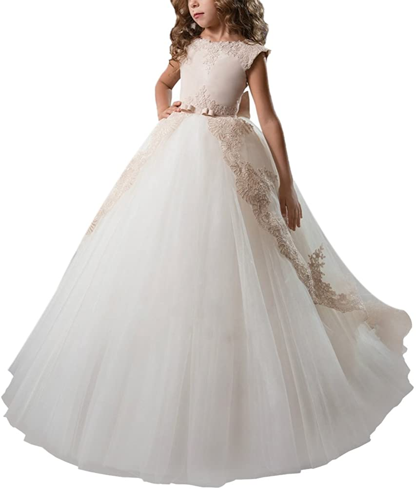Girls Flower Lace Recommended Princess Communion Dress Go Tulle Long Pageant Be super welcome