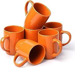 مجموعات أكواب القهوة JOOYUM ، سطح لامع برتقالي ، 6 أكواب قهوة