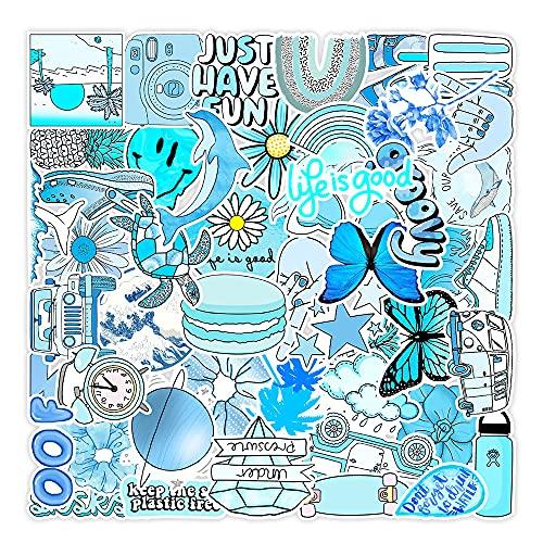 JZLMF 50 Pegatinas Azules pequeñas de Graffiti Fresco para Maletero de Coche, teléfono móvil, Taza de Agua, Pegatinas Impermeables