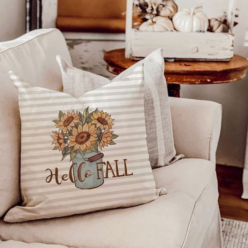 AENEY Fall Decor Pillow Covers 18x18 Set of 4 Pumpkin Gnomes Truck Sunflower Vase Outdoor Fall Pillows Decorative Throw Pillows Farmhouse Thanksgiving Autumn Cushion Case for Couch