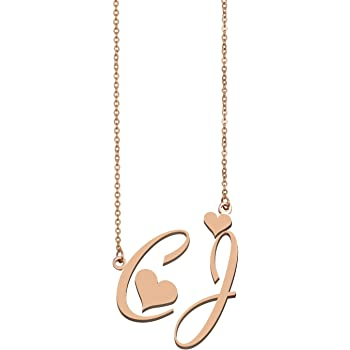 xiao S Name Necklaces Stainless Steel Rose Gold Color Customized Women Men Jewelry Couple Necklace