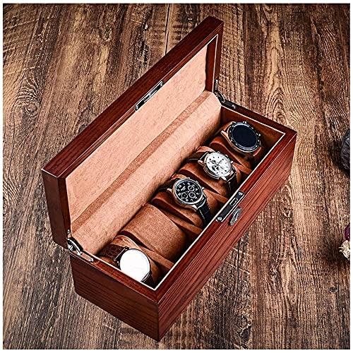 Caja de reloj de madera 5 ranuras caja de reloj para hombres y mujeres, caja de visualización de reloj marrón organizador con tapa de cristal extraíble almohada