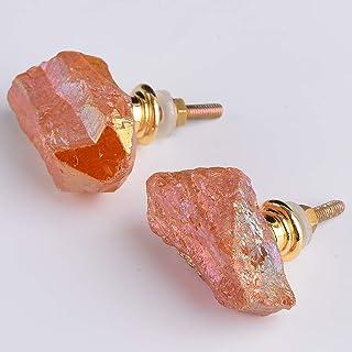 Red Orange Natural Carnelian Cabinet Knobs Home D\u00e9cor Gemstone Pulls