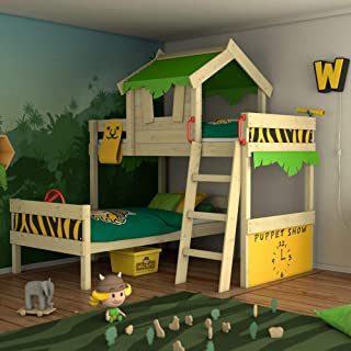 WICKEY Litera CrAzY Jungle Cama alta Cama de matrimonio infantil 90x200 con somier de madera y techo verde manzana-amarillo