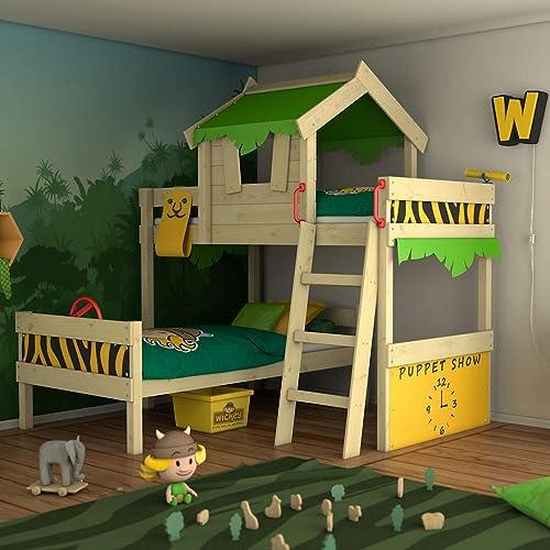 venta WICKEY Litera Litera Litera CrAzY Jungle Cama alta Cama de matrimonio infantil 90x200 con somier de madera y techo, verde manzana-amarillo  forma única